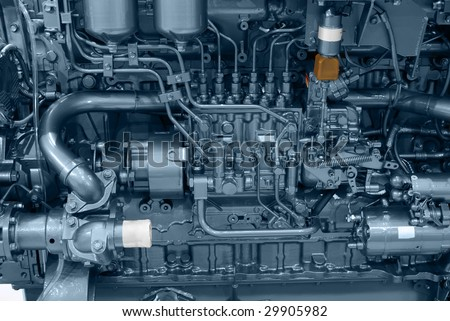 ship engine close detail - stock photo