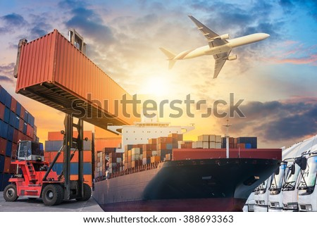 Ship for container with working crane bridge in shipyard for Logistic Import Export background - stock photo