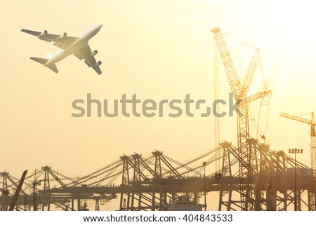 ship in port and freight cargo plane in transport and import-export commercial logistic ,shipping business industry  - stock photo