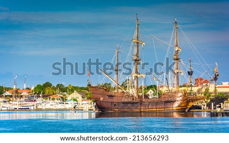 Ship in the harbor at St. Augustine, Florida. - stock photo