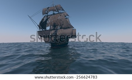 ship in the ocean with torn black sales - stock photo