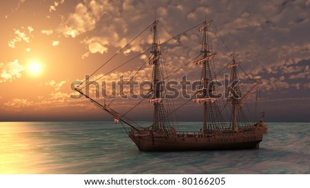 ship in the sea in sunset light - stock photo