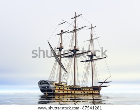ship in the sea with no sails - stock photo