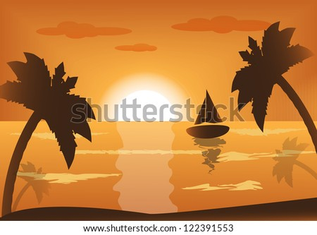 ship into the sea at sunset and palm trees - stock photo