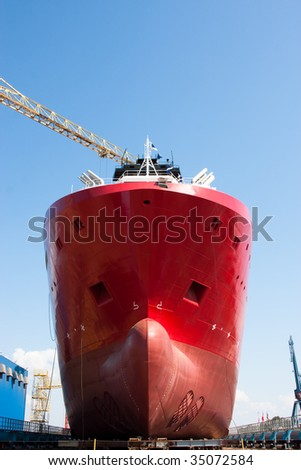 ship launching ceremony - stock photo