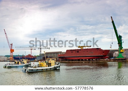 Ship launching in the Northern Shipyard in Gdansk, Poland. - stock photo