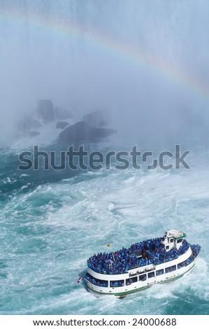 Ship near Niagara Fall - stock photo