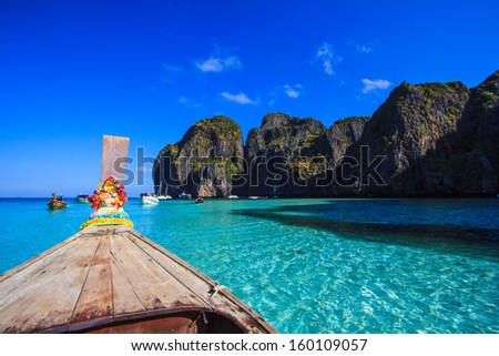 Ship Nose Front View Long tail boat at sea Phi Phi Island Asia Thailand - stock photo