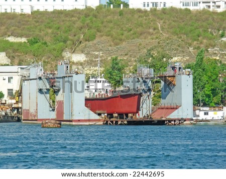 Ship repair - stock photo