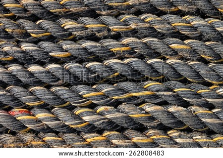 Ship ropes as a background - stock photo