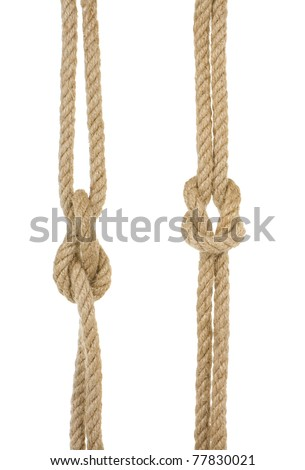 ship ropes with knot isolated on white background - stock photo