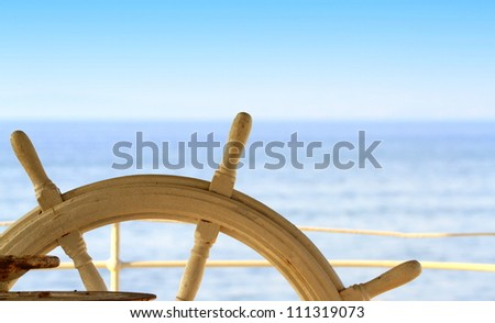 Ship rudder and sea - stock photo