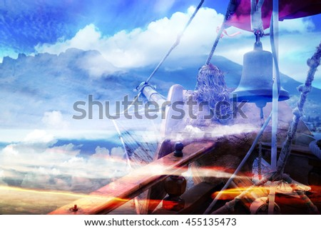Ship's bell in the background of a beautiful crimson sunset (double exposure) - stock photo