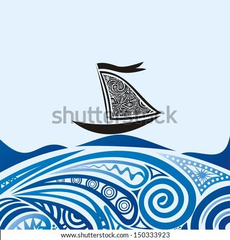 Ship sea wave illustration - stock photo