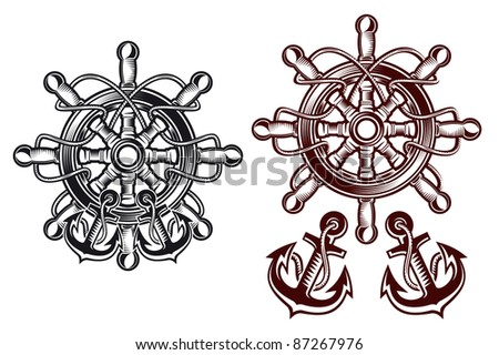 Ship steering wheel for heraldic design with anchors. Vector version also available in gallery - stock photo