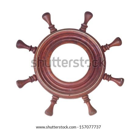 ship steering wheel rudder isolated on white background - stock photo