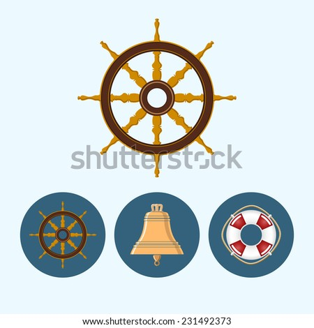 Ship wheel. Set with 3 round colorful icons, bell, lifebuoy , ship wheel - stock photo