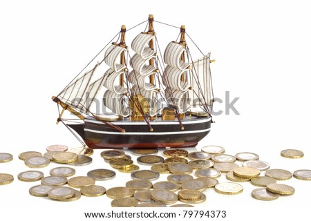 Ship with money - concept - stock photo