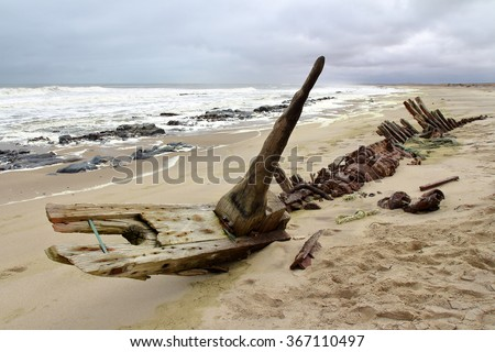 Ship Wreck in Skeleton Coast, Namibia - stock photo