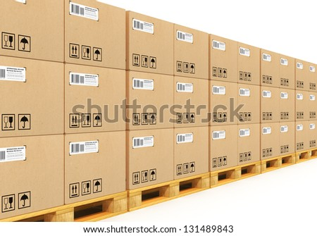 Shipment, logistics, delivery and product distribution business industrial concept: storage warehouse with row of stacked cardboard boxes with packed goods on wooden shipping pallets isolated on white - stock photo