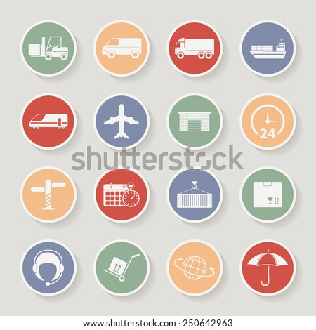 Shipping and Logistics Round Icons. Raster version - stock photo