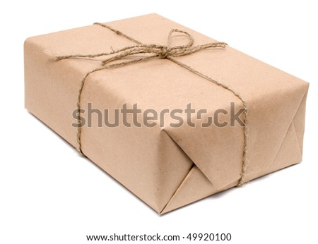 shipping box isolated on white - stock photo