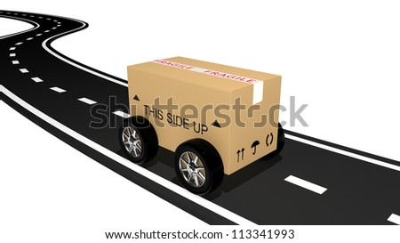 Shipping cardboard on the road - stock photo