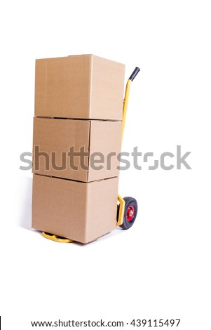 Shipping cart isolated on the white background - stock photo