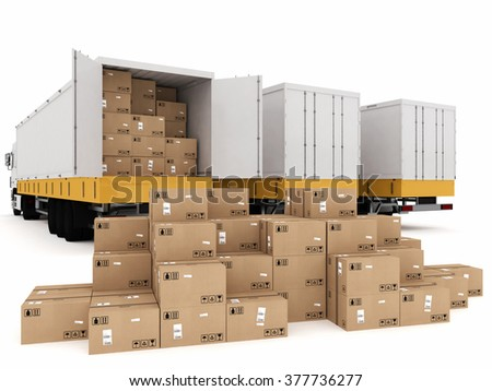 Shipping with truck - stock photo