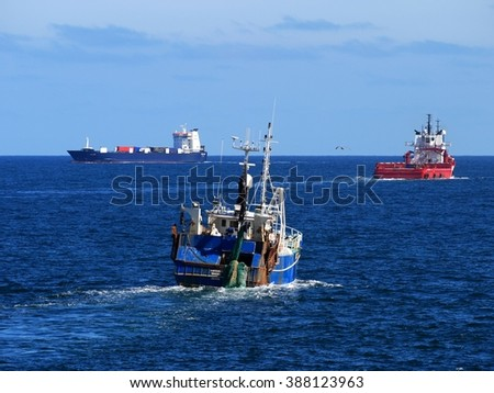 Ships At Sea, Peterhead, Scotland, 20th of May 2012, Ships and boats underway at sea in shipping lanes. - stock photo