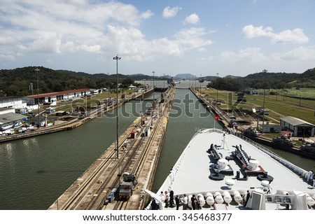 Ships bow in the Panama Canal crossing - stock photo