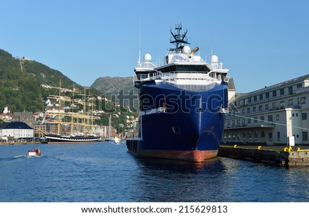 Ships in port - stock photo