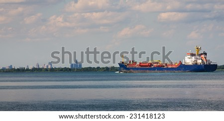 Ships on the detroit river south end - stock photo