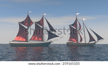 ships with red sales in the ocean - stock photo