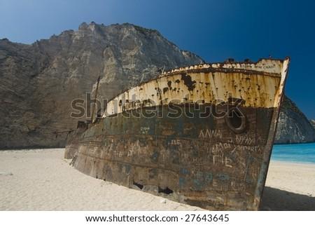 Shipwreck at Navagio bay - stock photo