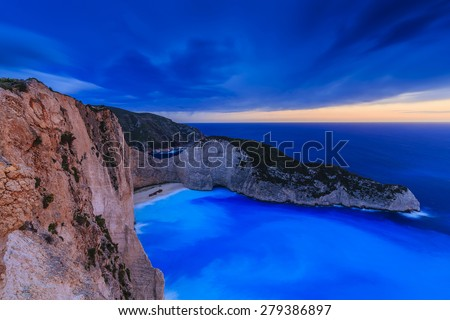 Shipwreck bay, Navagio, sunset - Zakynthos, Greece - The world famous, amazing beach  - stock photo