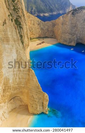 Shipwreck bay, Navagio - Zakynthos, Greece - The world famous, amazing beach - stock photo