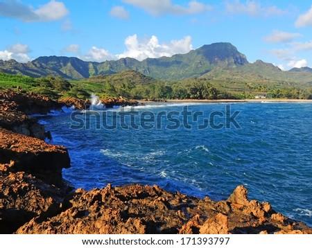 shipwreck beach near poipu, kauai - stock photo