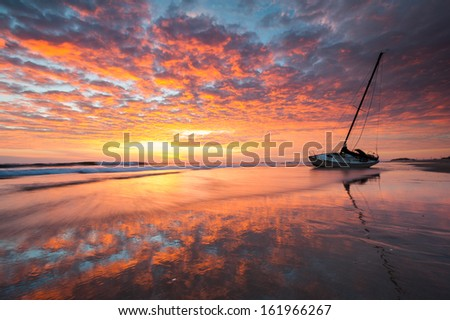 Shipwreck Cape Hatteras National Seashore Outer Banks North Carolina Sunrise - stock photo