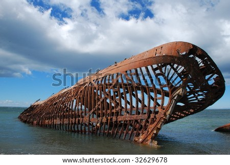 Shipwreck in Patagonia, Chile. - stock photo