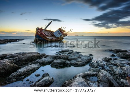 Shipwreck in thailand - stock photo