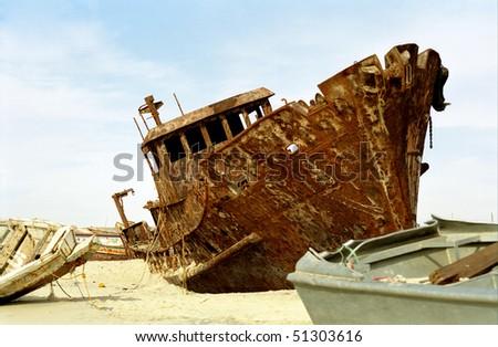 Shipwreck, Nouakchott, Mauritania - stock photo