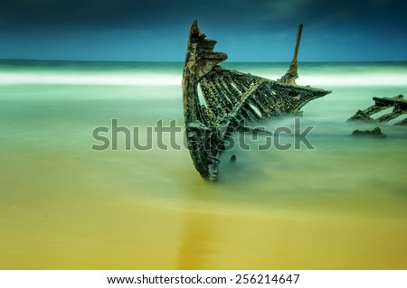 Shipwreck of the SS Dicky at Caloundra on Queensland's Sunshine Coast - stock photo