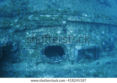 Shipwreck underwater - stock photo