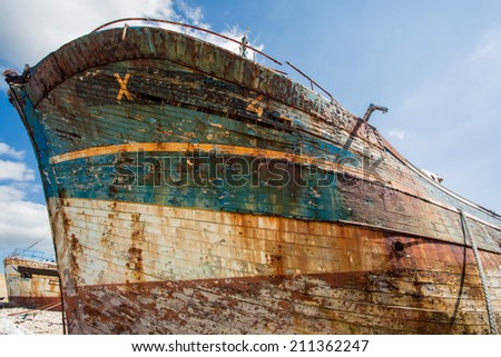 Shipwreck with blue sky in the background in camaret-sur-mer, Brittany, France, Europe - stock photo