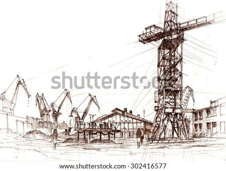 Shipyard in Gdansk - stock photo