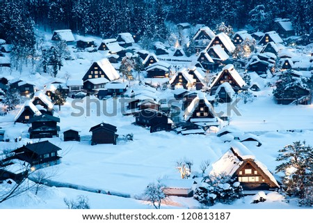 Shirakawa-go Winter Light-Up - stock photo