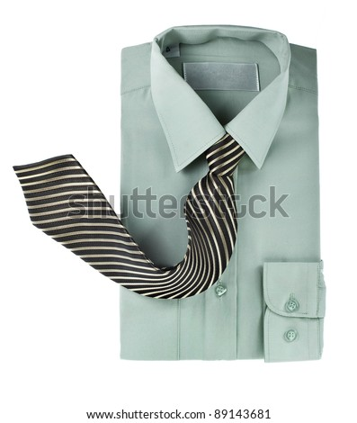 shirt with tie isolated on white - stock photo