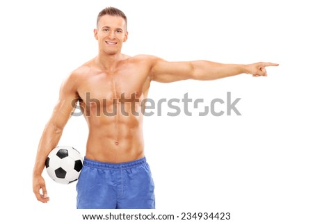 Shirtless football player pointing with hand isolated on white background - stock photo