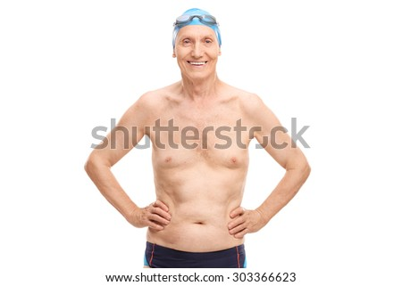 Shirtless senior in black swim trunks and blue swimming cap looking at the camera and smiling isolated on white background - stock photo